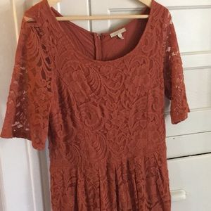 Rust colored, knee length Anthropologie dress